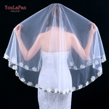 YouLaPan V55 1 Tier Embroidery Lace Edge Bridal Wedding Veil Elbow Length Wedding Veil 2020 Bridal Accessories