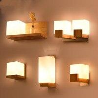 Japanese Bedside Wall Lamp LED Bedroom Simple Solid Wood Creative Living Room Hotel Aisle Bedside Lamp