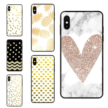 Lightest Black Soft Personalized Pattern Black Tpu+pc Gold Polka Dots Wave Heart Word For Samsung Galaxy A10S A20 A20S A20E image