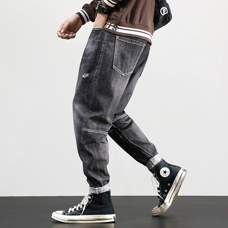 Fashion Streetwear Men Jeans Retro Gray Spliced Designer Ripped Harem Pants Loose Fit Size 28-42 Hip Hop Jeans Men Pencil Pants