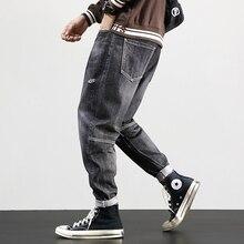 Мода Уличная Мужчины Джинсы Ретро Серый Сплайсированные Дизайнер Рваные Шаровары Свободная Посадка Размер 28-42 Хип-Хоп Карандаш