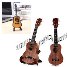 Guitar Model Table Decor Wooden 3 Color Ornament Gift Mini Handicrafts DIY Art Decoration Creative Cafe Exquisite(China)