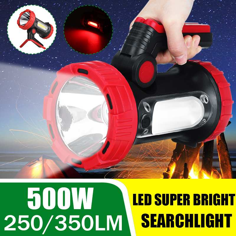 Super Bright LED Searchlight Flashlight with Side Light 6 Lighting Modes Powered by Lithium Battery for Outdoor Camping