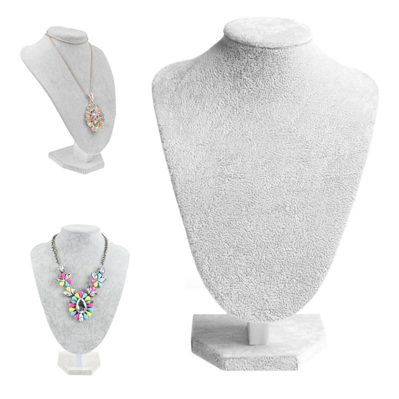 Mannequin Velvet Necklace Pendant Chain Jewelry Bust Neck Display Stand Holder