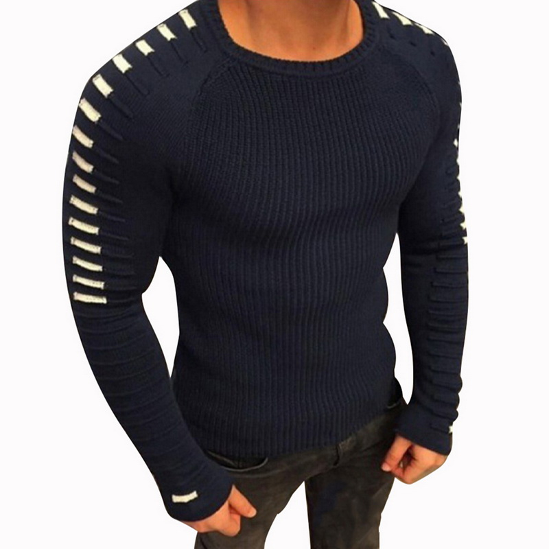 CYSINCOS Men's Knit Sweaters Round Neck Pullover Long Sleeve Male Sweater Shoulder Pleated Men's Fashion Top Sweater 2018 New