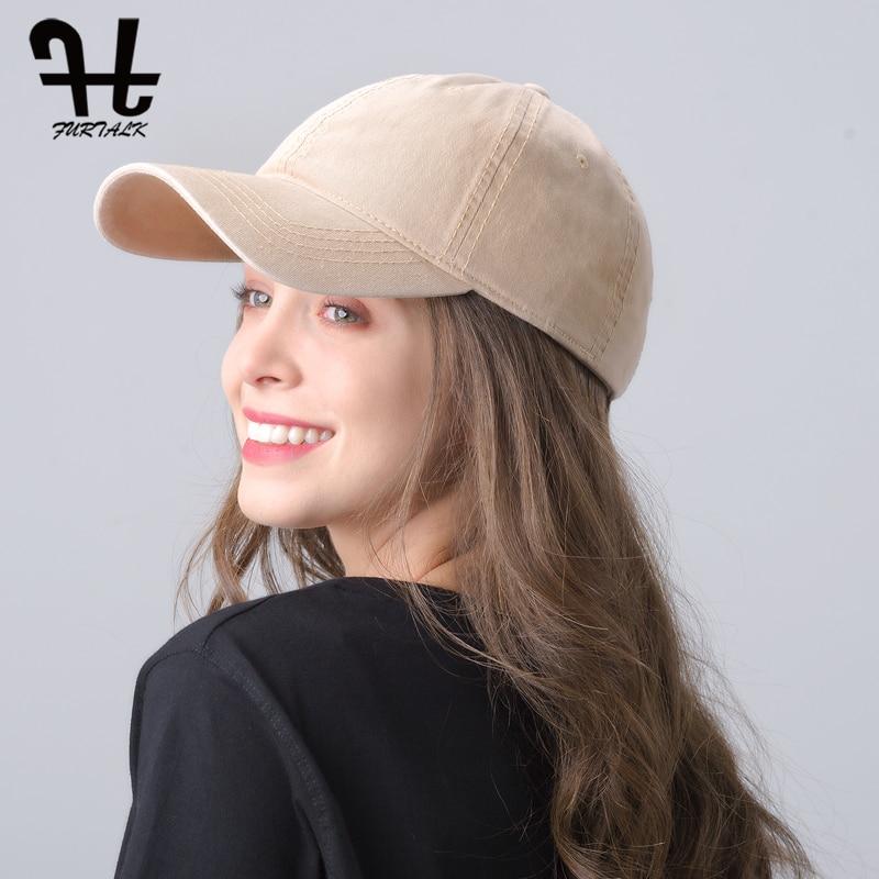 FURTALK Vintage Baseball Cap Women Men Ponytail Baseball Caps Black Snapback Hip Pop Cap Washed Cotton Couple Hats For Female