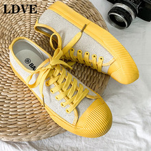 Girls Yellow Canvas Shoes Orange Sneakers Line Fabric 2019 Summer New All Match Bright Color Flat Heel Lace Up Women Autumn Shoe
