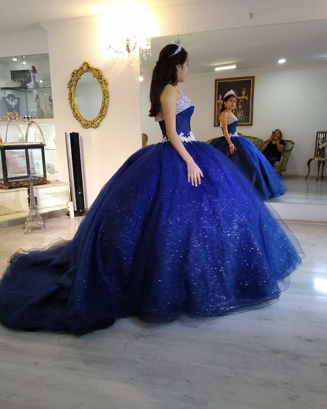 Glitter Sequins Royal Blue Ball Gown Quinceanera Dress Lace Appliques Puffy Girls 15 Years Birthday Dresses Sweet 16 Party Gowns