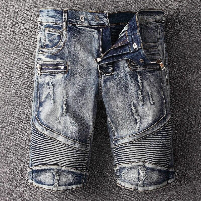 2020 Men Jeans Shorts Motorcycle Biker Jeans Rock Revival Short Pants Skinny Slim Ripped Hole Men Denim Shorts Designer Jeans Aliexpress