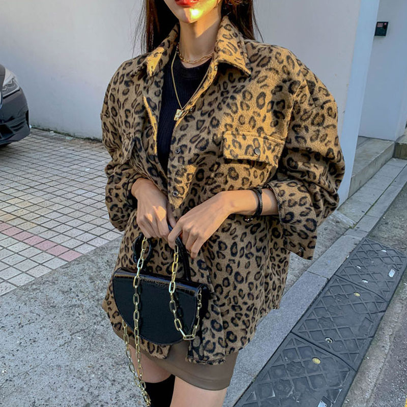 2021 spring Vintage Leopard Jacket Plus Size Casual Leopard Female Coat Winter Tops For Woman Clothes Elegant  Wool Outwear