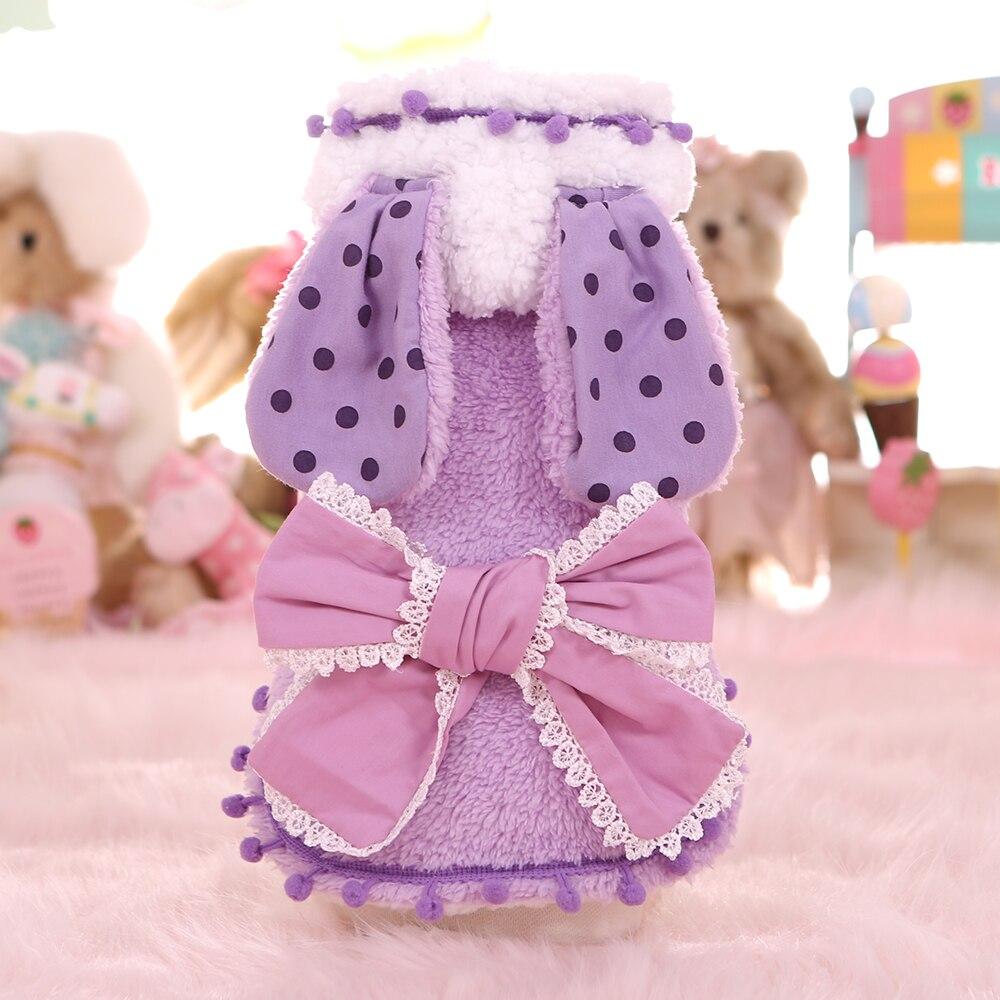 Кролик с большими ушами Пасхальный костюм на Хэллоуин для маленьких средних собак милые зимние теплые флисовый, для Питомца Кошка накидка, чехол для собак Щенок Одежда Рубашка - Цвет: Фиолетовый