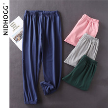 Leggings Pajama-Pants Loungewear Bottoms Cotton Casual Women Autumn Solid Combed High-Density