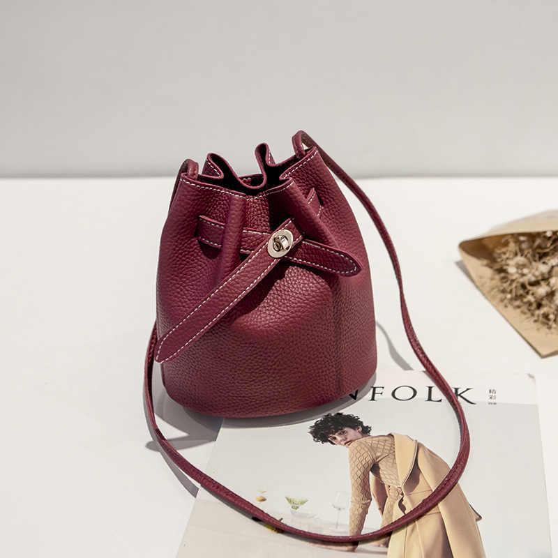 Neue Einfache Eimer Taschen Für Frauen 2019 Luxus Handtaschen Frauen PU Lychee Kleine Schulter Crossboby Bag Fashion Solid bolsa feminina