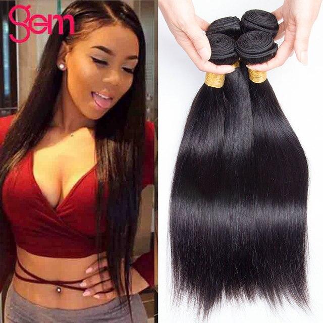 30 Cal proste włosy 3 zestawy Deal ludzkich włosów 3 / 4 wiązki Gem piękno Remy włosy peruwiańskie pasma włosów