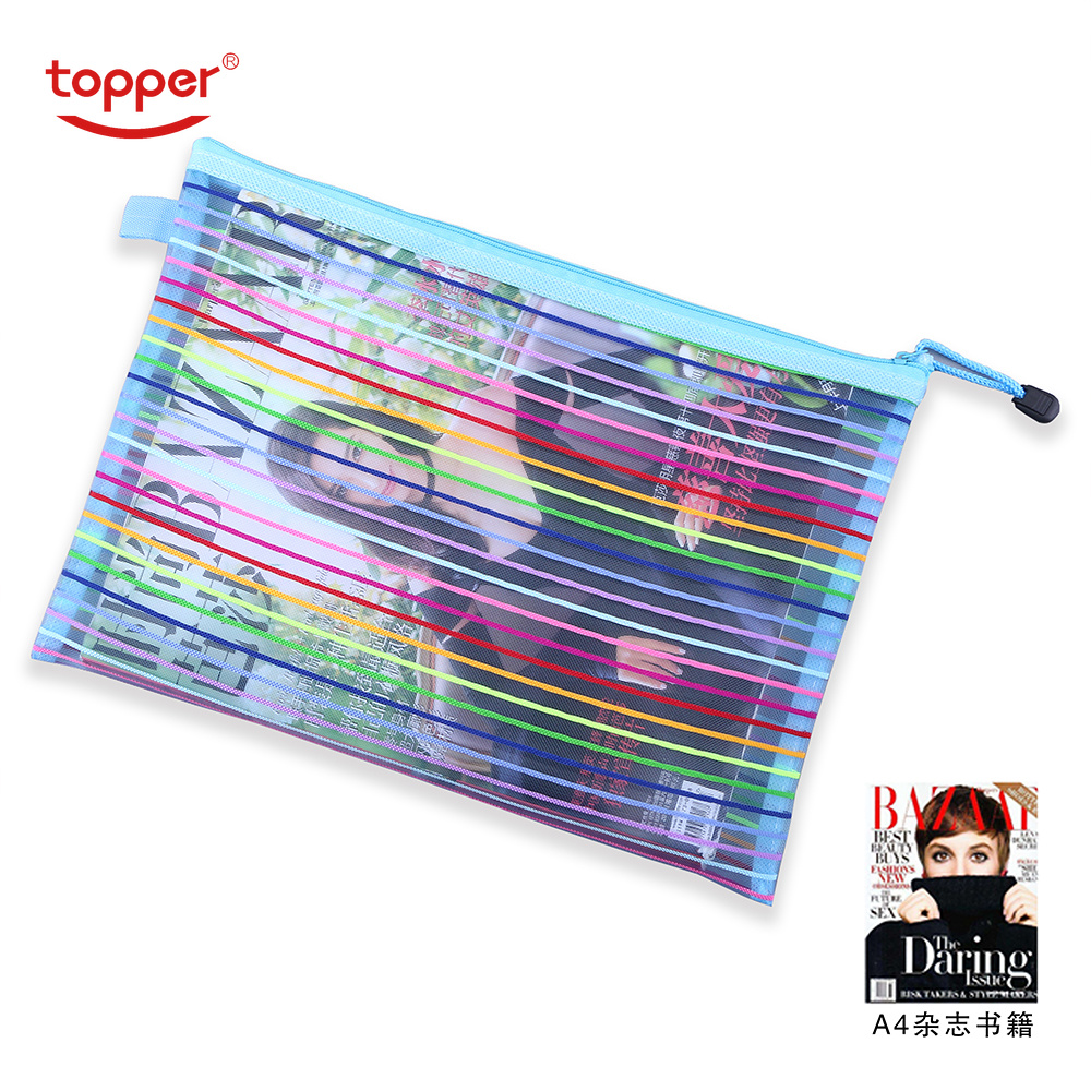 A4 A5 Colorful Waterproof Nylon Transparent Mesh Zippe Bag File Folder Stationery Storage School Supplies Pvc Bag