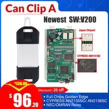 Meilleur Can Clip V200 puce complète de diagnostic pour renault, interface de voiture, version or, version CYPRESS AN2135SC AN2131QC, prise OBD2