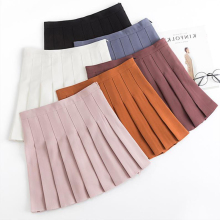 Spring and summer new style Fashion temperament high waist skirt College solid pleated