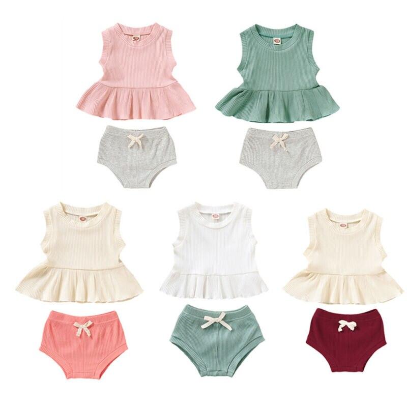 2PCS Toddler Kids Baby Girl Cotton Ruffle Halter Tank Top+ Bowknot Shorts Outfits Set Sleeveless Beige 0-6 Months