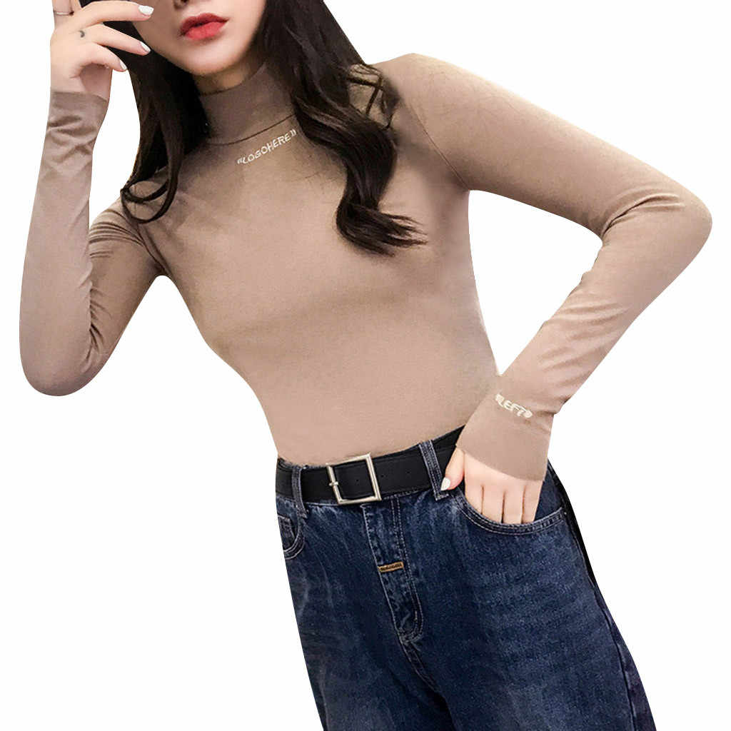 Hangat Pullover Wanita Sweater Wanita Musim Gugur Musim Dingin Wanita Lengan Panjang Roupas Feminin Huruf Pullover Turtleneck Beludru Basic Atasan