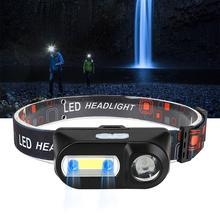 Indukcją IR reflektor Mini przenośny COB lampa czołowa LED na zewnątrz wędkowanie reflektory Camping Head light latarka