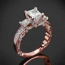 Luxus Weibliche Rose Gold Braut Hochzeit Ring Mode Gefüllt Schmuck Versprechen Stein Verlobung Ringe Für Frauen