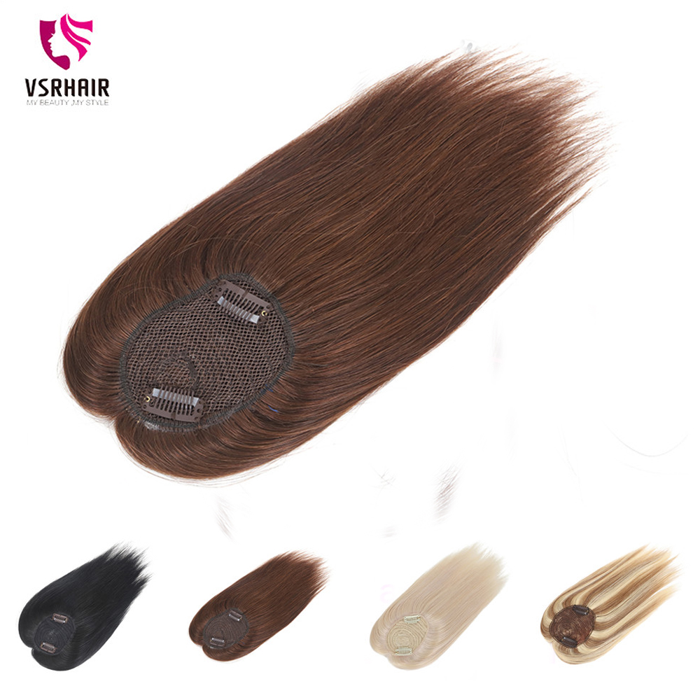VSR 18inches Long Toppers For Women 100% Human Hair Extensions Clip-in One Piece Piano Color Blonde Mono Clips Human Hair Topper