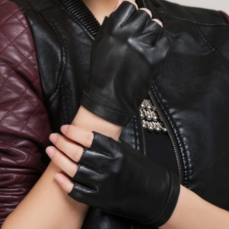 Fashion Half Finger Men Leather Gloves Genuine Leather Driving Gloves Women Solid Black Fingerless Mittens AGB158A