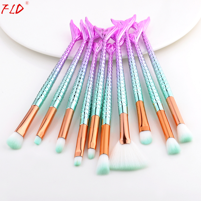 FLD Professional Mermaid Makeup Brushes Set Eye Set Kits Shadow Eyeliner High Quality Makeup Brush Tools Eyebrow Tools Kit 4
