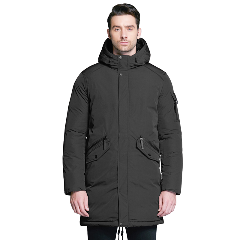 ICEbear 2019 new high quality winter coat simple fashion coat big pocket design men's warm hooded brand fashion parkas MWD18718D zip up plus size hooded coat