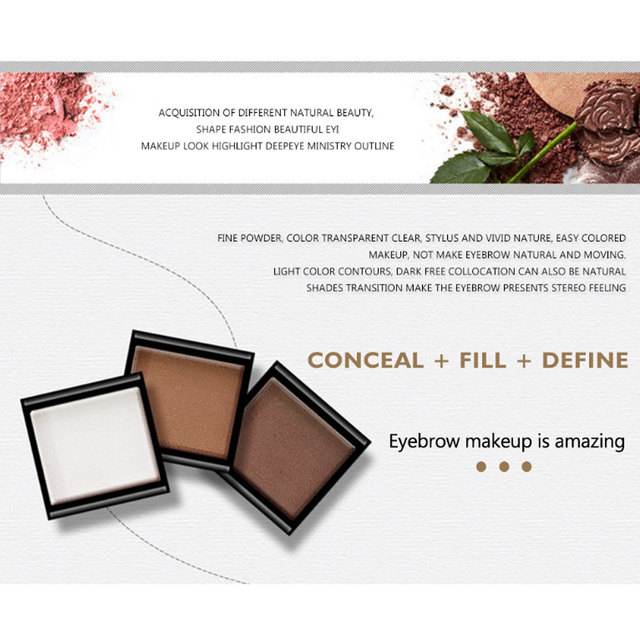 Eyebrow Powder 3 Colors Eye Brow Palette Waterproof Eyeshadow Cosmetic Eye Makeup Professional Powder Cosmetic Tools with Brush 4