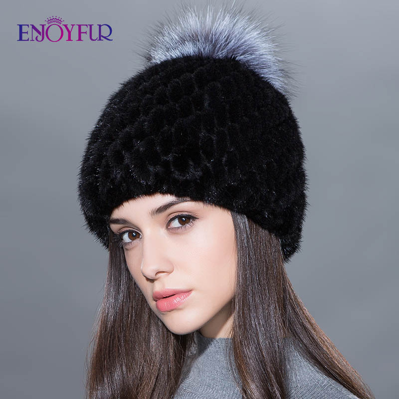 Image 3 - ENJOYFUR hot sale real mink fur hat for women winter knitted mink fur beanies cap with fox fur pom poms new thick  female cap-in Women's Skullies & Beanies from Apparel Accessories