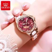 OLEVS العلامة التجارية الفاخرة النساء ساعة ميكانيكية السيراميك حزام الساعات التلقائي ساعات آلية للنساء هدية للنساء