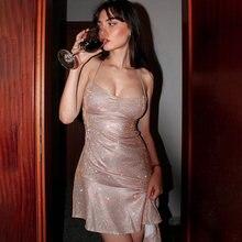Wacorset vestidos sparkly sexy festa sem costas assimetria babados hem cinta de espaguete com decote em v feminino magro sem mangas voltar rendas acima