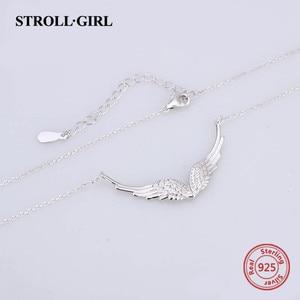 Image 4 - StrollGirl 천사 목걸이 깃털 체인의 새로운 925 스털링 실버 날개 여성을위한 diy 공예 패션 쥬얼리 2019 결혼 선물
