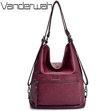 Bayanlar deri el çantaları 2019 çok fonksiyonlu Vintage lüks çanta tasarımcısı çanta ünlü marka kadın çantaları sırt çantası ana kesesi