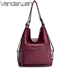 Ladies Leather Hand Bags 2019 Multifunctional Vintage Luxury Handbags Designer Bags Famous Brand Women Bags Back Pack Sac A Main