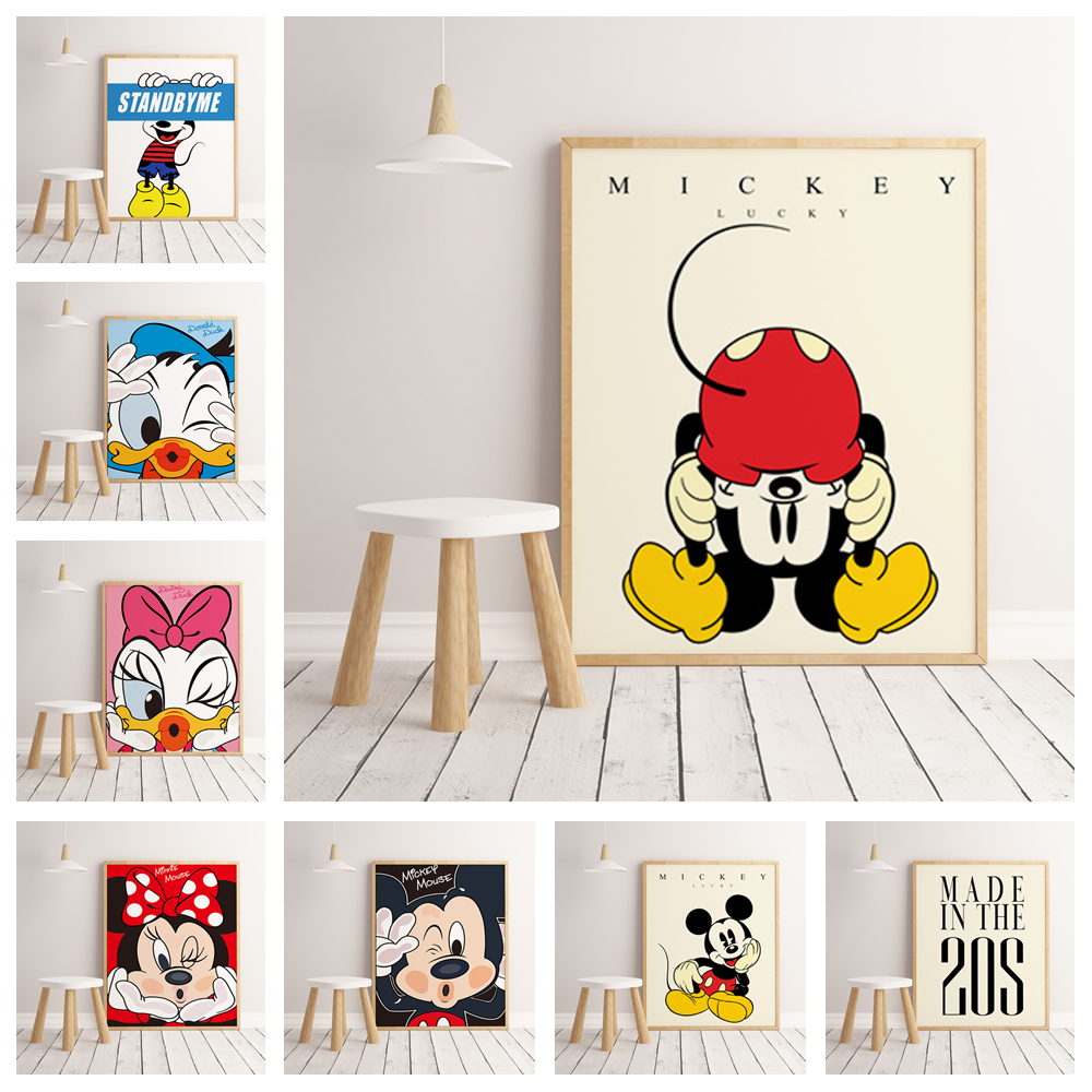 Cartoon Anime Character Mickey Minnie Family Decoration Poster Hight Quality Canvas Painting Hight Quality Home Decor No Frame