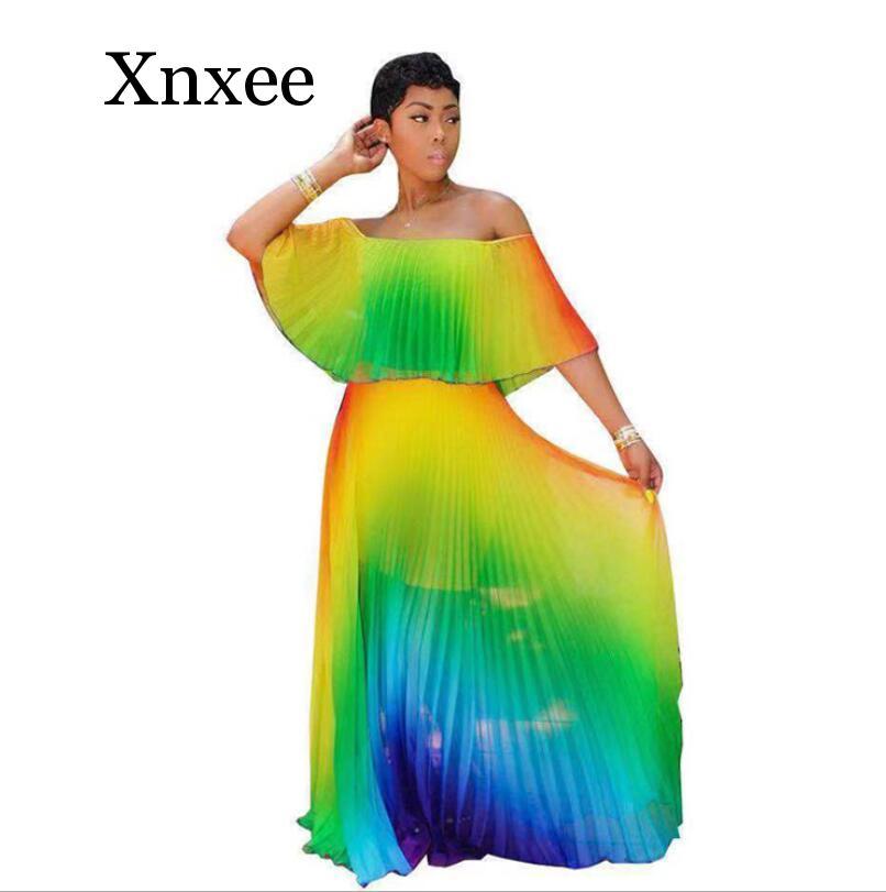 women beach Gradient tie dye print chiffon off shoulder butterfly sleeve maxi pleated dress sexy boho long dresses slash neck