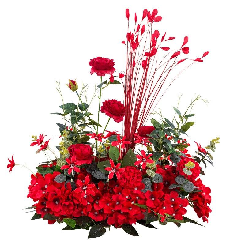 Nouvelle route de mariage cité fleur rangée avec mousse Base soie fleur décoration de mariage fond arc fleur mur étape pré-fonction - 4