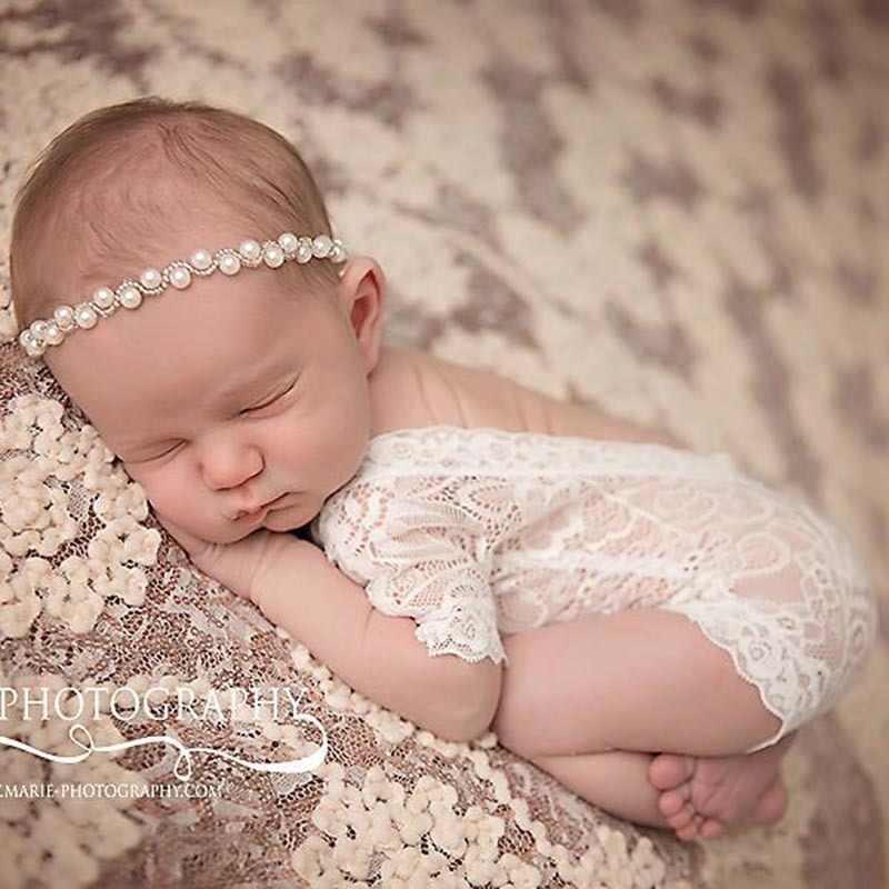 Sevimli! 2019 yeni yumuşak yenidoğan bebek fotoğraf sahne bebek Romper moda dantel bebek bebek tulum beyaz ve siyah giysileri Romper