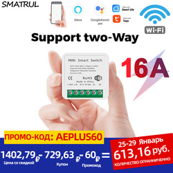SMATRUL 16A 10A MINI Tuya WiFi Switch Led Light Smart Life Push Module Supports 2 Way APP Voice Relay Timer Google Home Alexa