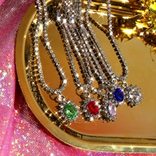 Cender Oval Crystal Choker Necklace For Women Girls 5 Color Egg Shape Pendant Necklace 2020 New Fashion Temperament Jewelry stylish rhinestoned fake crystal oval necklace for women