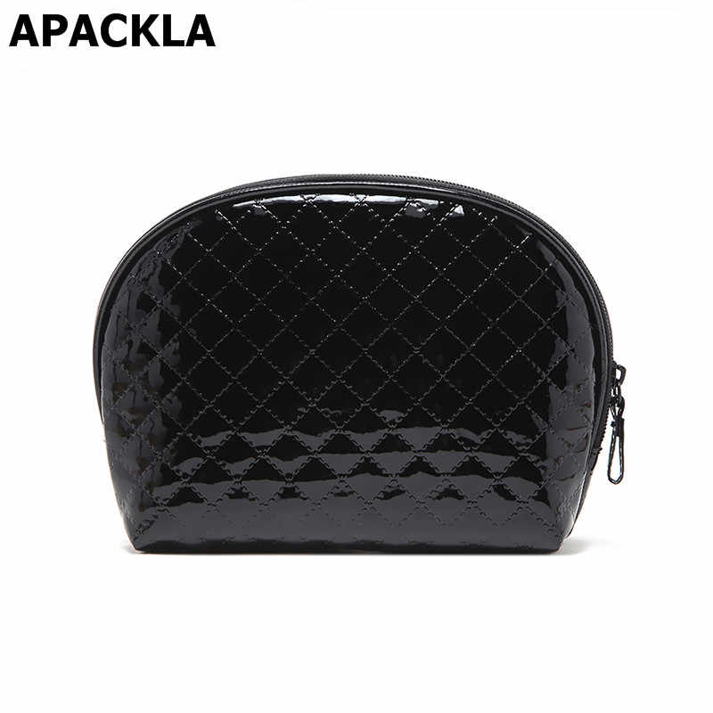 APACKLA 2019 Women Cosmetic Bag Patent Leather Makeup Bag Quilted Shell Beauty Case Necessaries Clutch Organizer Travel Make Up