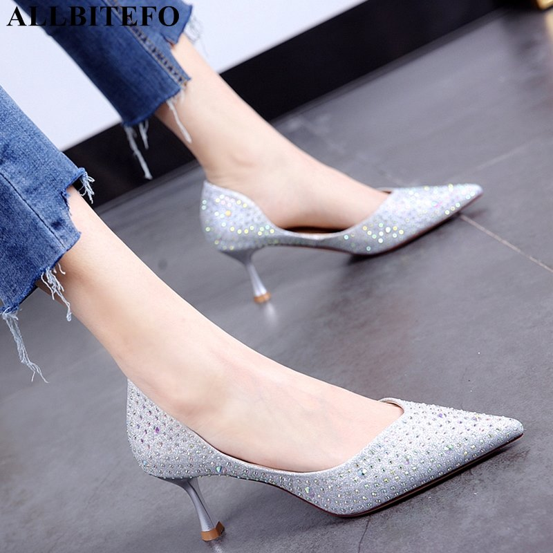 ALLBITEFO Sweet Rhinestone High Heels Wedding Women Shoes High Quality Women High Heel Shoes Office Ladies Shoes Women Heels