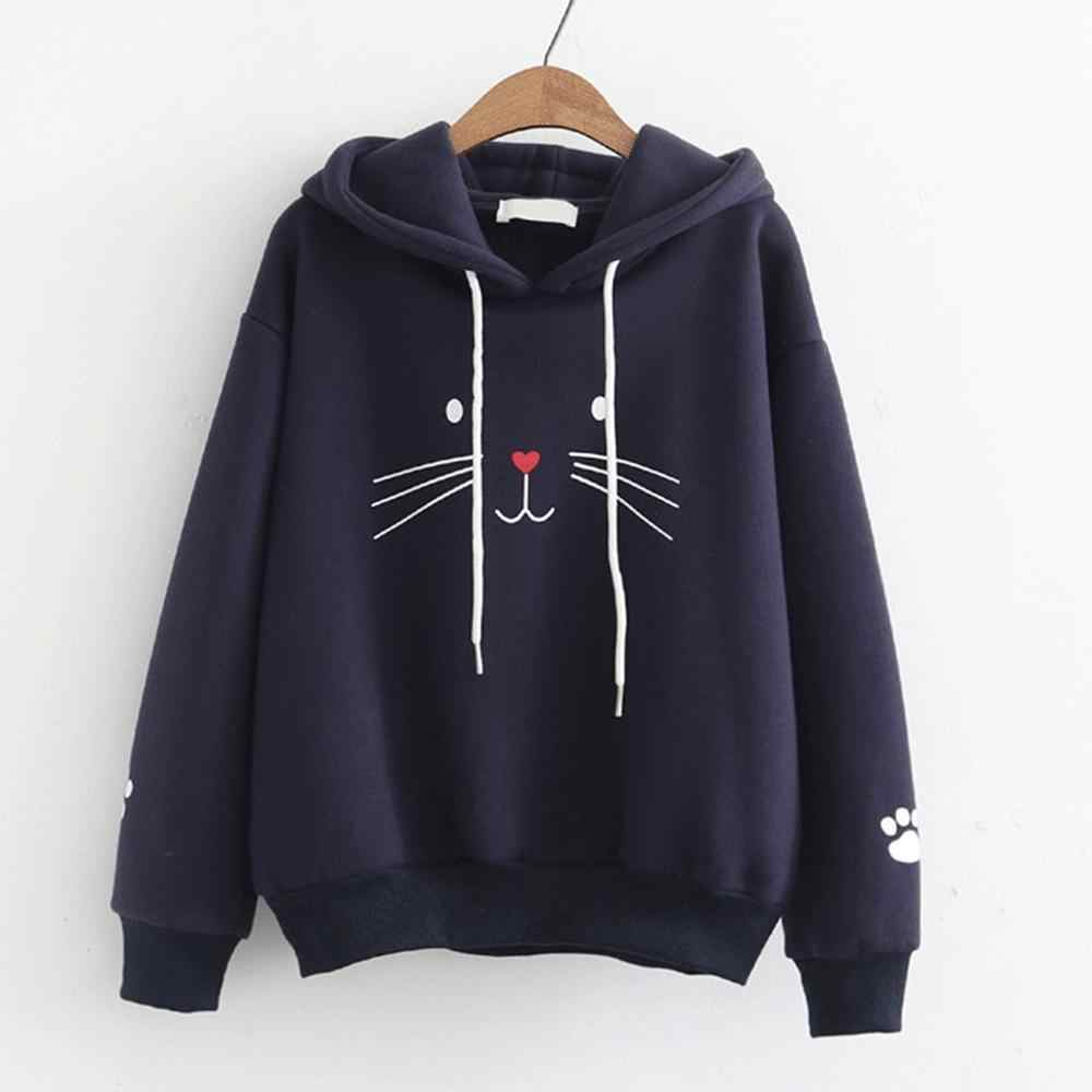 Women's Casual rabbit Prints Hooded Pocket Long Sleeve Pullover Sweatshirt Winter Warm Hoodies Sweatshirts Dropshipping  J30