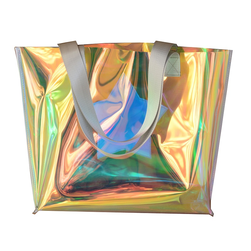 Beach transparent bag woman waterproof laser clear tote bags summer big top-handle bags laser holographic purse jelly handbag 4