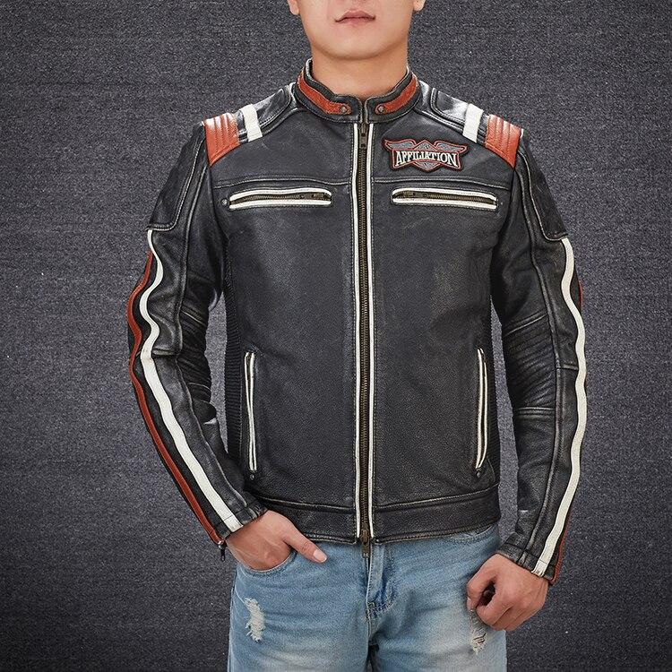 Hbb7f64506786447b8cd1edb75b9adcf1O 2019 Vintage Black Men Leather Motorcyclist Jacket Skull Embroidery Plus Size 3XL Genuine Cowhide Short Biker Coat FREE SHIPPING