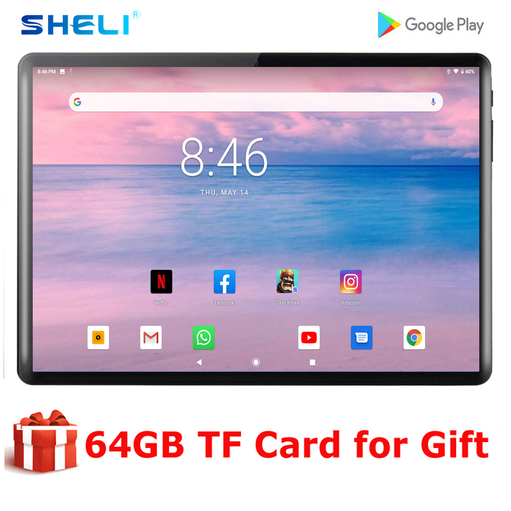 Newest Global Rom Android 9.0 OS 10 Inch Tablet 2GB RAM 32GB ROM 1280*800 IPS 2.5D Glass 3G WCDMA Wifi Netflix Tablets 10.1