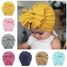 Solid Knot Soft Wrap Newborn Toddler Kids Baby Boy Girl Turban Cotton Beanie Hat Winter Warm Soft Cap Children Accessories H100S цена и фото