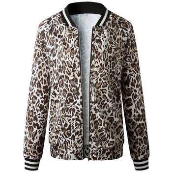 Leopard Spring Women's Jackets Zipper Warm Slim Fit Jacket Coat Short Female Coat Long Sleeve Autumn Coat Women Bomber Jacket